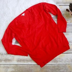 GAP Red Merino Wool V Neck Sweater